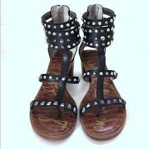 SAM EDELMAN Black Dion Studded Gladiator Sandals